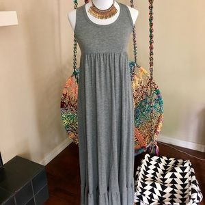 Mossimo Grey Maxi Knit Racer Back Dress S